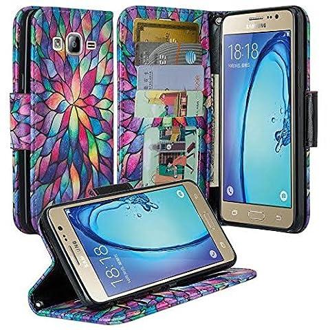 Galaxy Luna Case, Galaxy Express 3 Case, Samsung Galaxy Amp 2 Wallet Case, Wrist Strap Flip Folio [Kickstand] Pu Leather Wallet Case with ID&Credit Card Slot For Galaxy Amp 2, (Rainbow (Galaxy 3 Phone Flip Cases)