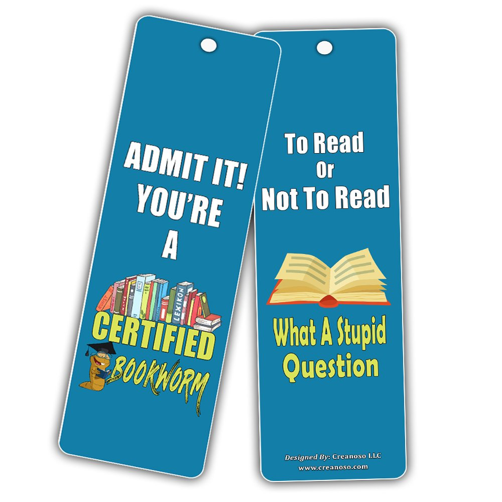 Creanoso Silly Hilarious Literary Bookmarks (60-Pack) – Insanely Funny and Inspiring Bookmarker Cards - Excellent School Teacher Classroom Rewards for Young Readers - Incentive Gifts for Bibliophiles by Creanoso (Image #2)