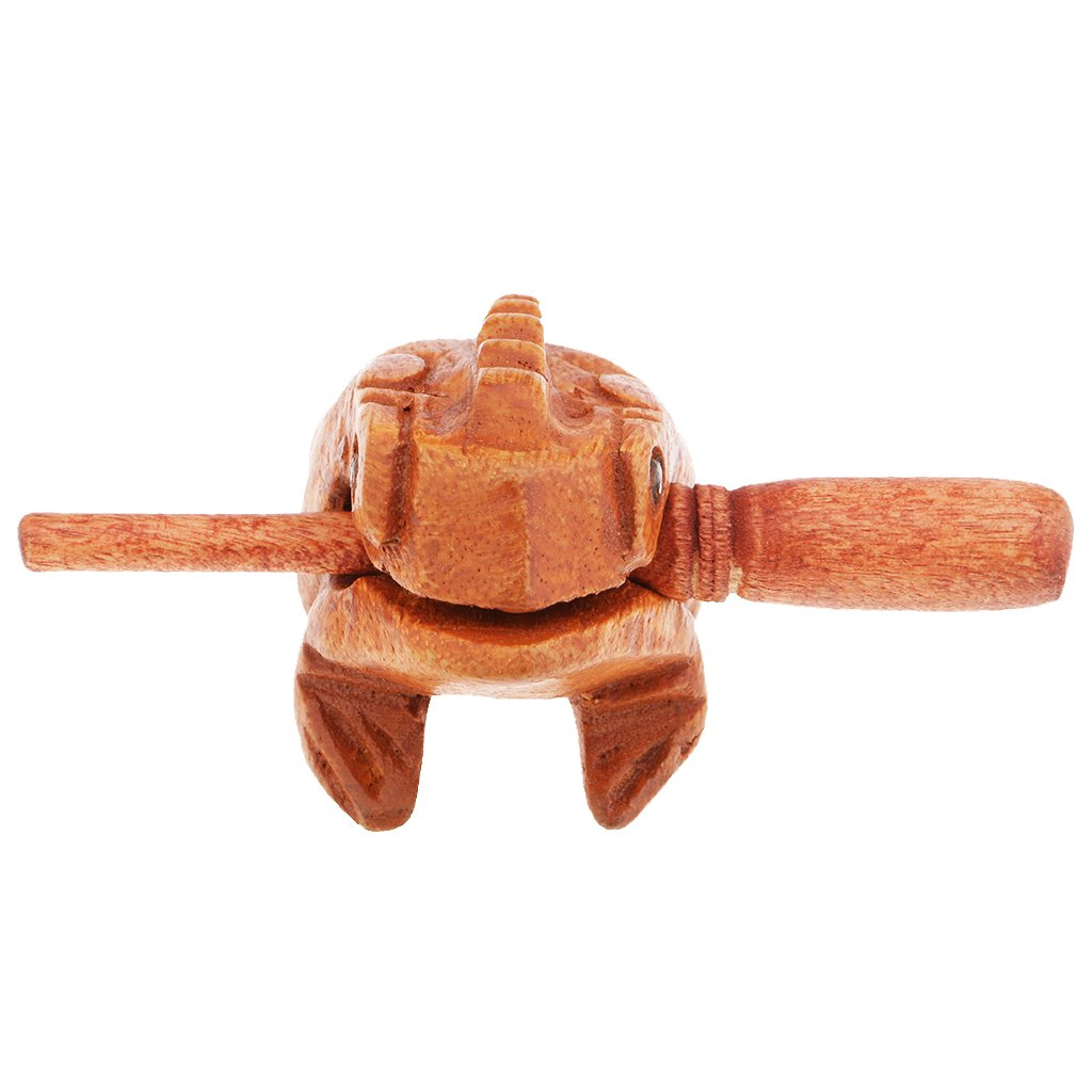 D DOLITY Handmade Wooden Croaking Frog Figurines Kids Musical Toys Home Ornaments -6cm