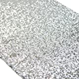 Koyal Wholesale Sequin Table Runner, 12 by 108-Inch, Silver