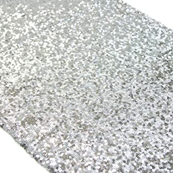 Koyal wholesale sequin table runner 12 by 108 inch silver