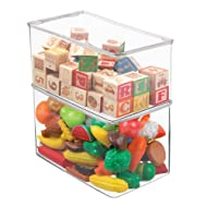 """mDesign Stackable Closet Plastic Storage Bin Box with Lid - Container for Organizing Child's/Kids Toys, Action Figures, Crayons, Markers, Building Blocks, Puzzles, Crafts - 7"""" High, 2 Pack - Clear"""