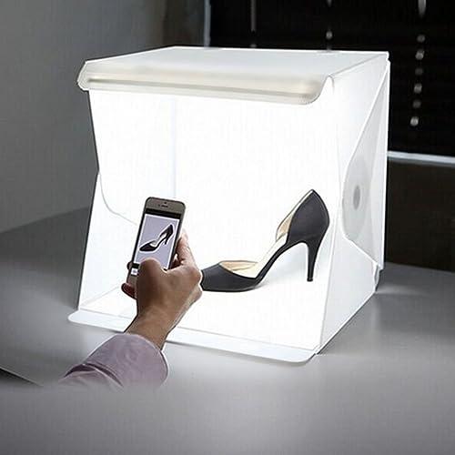 Depthlan Photo Studio Folding 20 LED Lightbox Kit w/Black and White Backdrop (For Small Items)