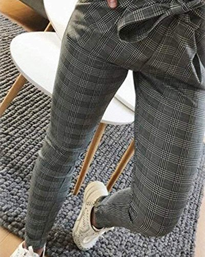 Grigio Due Ragazze Waist Tempo Damigella A Pants Matita Moda Lunghe High Pantalone Dei Tendenza Fit Pantaloni Libero Eleganti Giovane Slim Tasche Estivi Stripe qHBaCPUw
