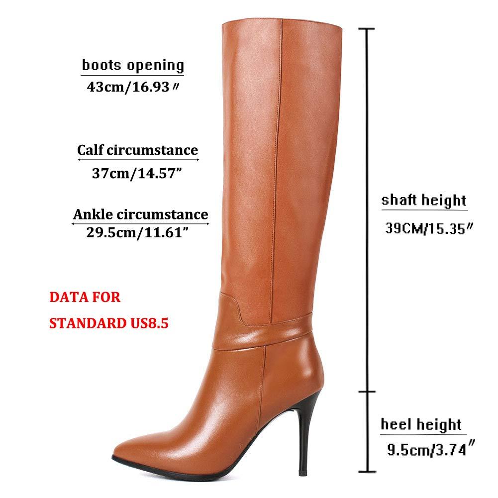 ba924f709b6 Dance&Style Women's Froie Autumn Winter Pointed Toe Stiletto Heels Knee  High Boot