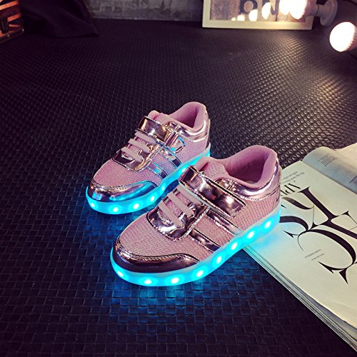 [+Pequeña toalla]De carga USB zapatos de los niños chicos que emite luz zapatos zapatos de los zapatos luminosos LED iluminados deportiva c5