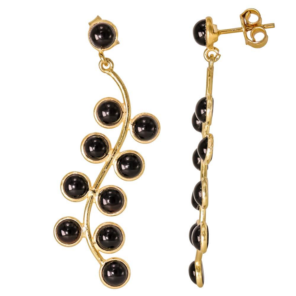 Earrings Screw Back Black Onyx 18k Gold Plated 925 Sterling Silver Stud