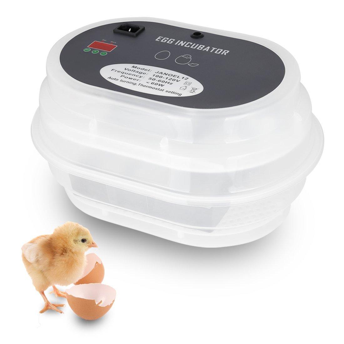 VIVOHOME Mini Digital Fully Automatic 9-12 Egg Incubator Temperature Control Poultry Hatcher Machine for Chicken Duck Bird Quail