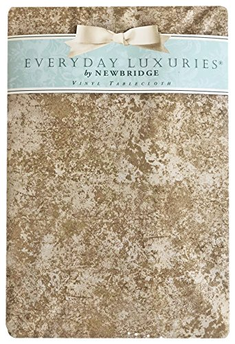Beige Milano Marble Solid Color Print Heavy Gauge Vinyl Flannel Backed Tablecloth, Indoor/Outdoor Tablecloth for Picnic, Barbeque, Patio and Kitchen Dining, (60 Inch x 120 Inch Oblong/Rectangle)