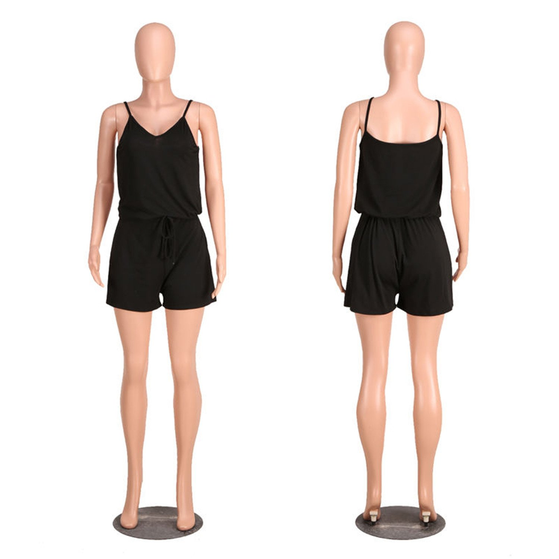 Women JumpsuitV-Neck Comfy Loose Solid Harness ShortJumpsuit Overalls Black S