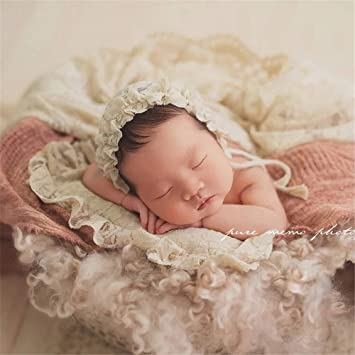 Baby Handmade Lace Small Pillow+Hat Photography Props, Pink Newborn Baby Photo Shoot Props