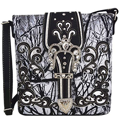 Camouflage Rhinestone Western Cross Body Handbags Concealed Carry Purse Country Women Single Shoulder Bag (#2 Buckle Black)