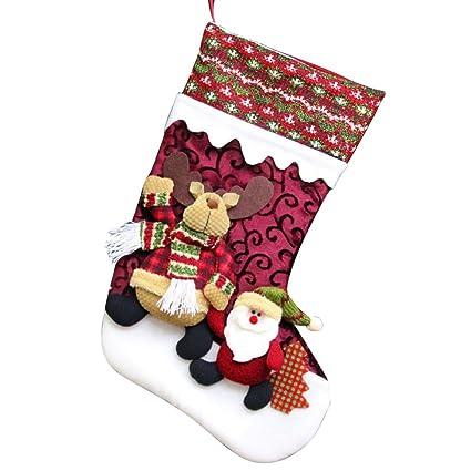 Calcetín de Navidad calcetines, shiningup gran Papá Noel de Papá Noel Muñeco de nieve Reno