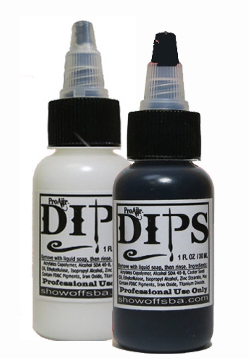 Face Painting Makeup - ProAiir Waterproof Brush On DIPS - 2 1 oz (30ml) Bottles, 1 each Black and White