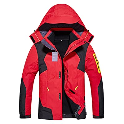 Alomoc 3 in 1 Hiking Jacket Outdoor Waterproof Softshell Raincoat Snowboard Clothing: Clothing