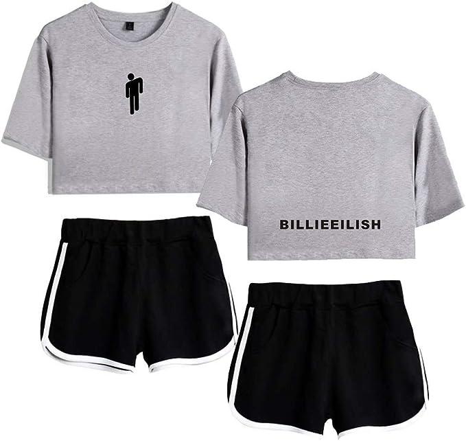 Siyatom Billie Eilish Madchen Lose 3d Print Top Und Shorts Kurzarm T Shirt 2 Stuck Set Anzug Yoga Stilvolle Kleidung Bekleidungssets Amazon De Bekleidung