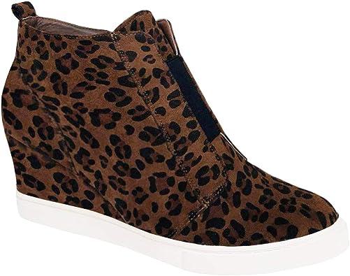 Womens Leopard Wedge Sneakers Platform