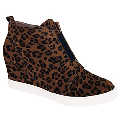 43d933d98b0ec Womens Leopard Wedge Sneakers Platform Slip On High Top Mid Heel Ankle  Booties