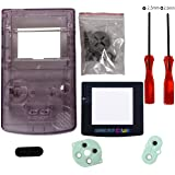 Shell Replacement for Gameboy Color - Full Replace Parts Housing Shell Pack for GBC (Transparent Purple Case with Lens and Sc