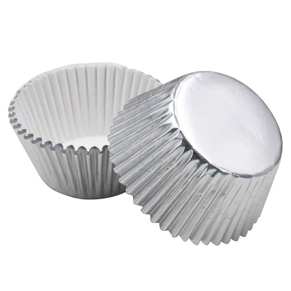 ROSENICE Cupcake Liners Aluminum Foil Cups Cake Muffin Molds for Baking (Silver) - 100 Pieces