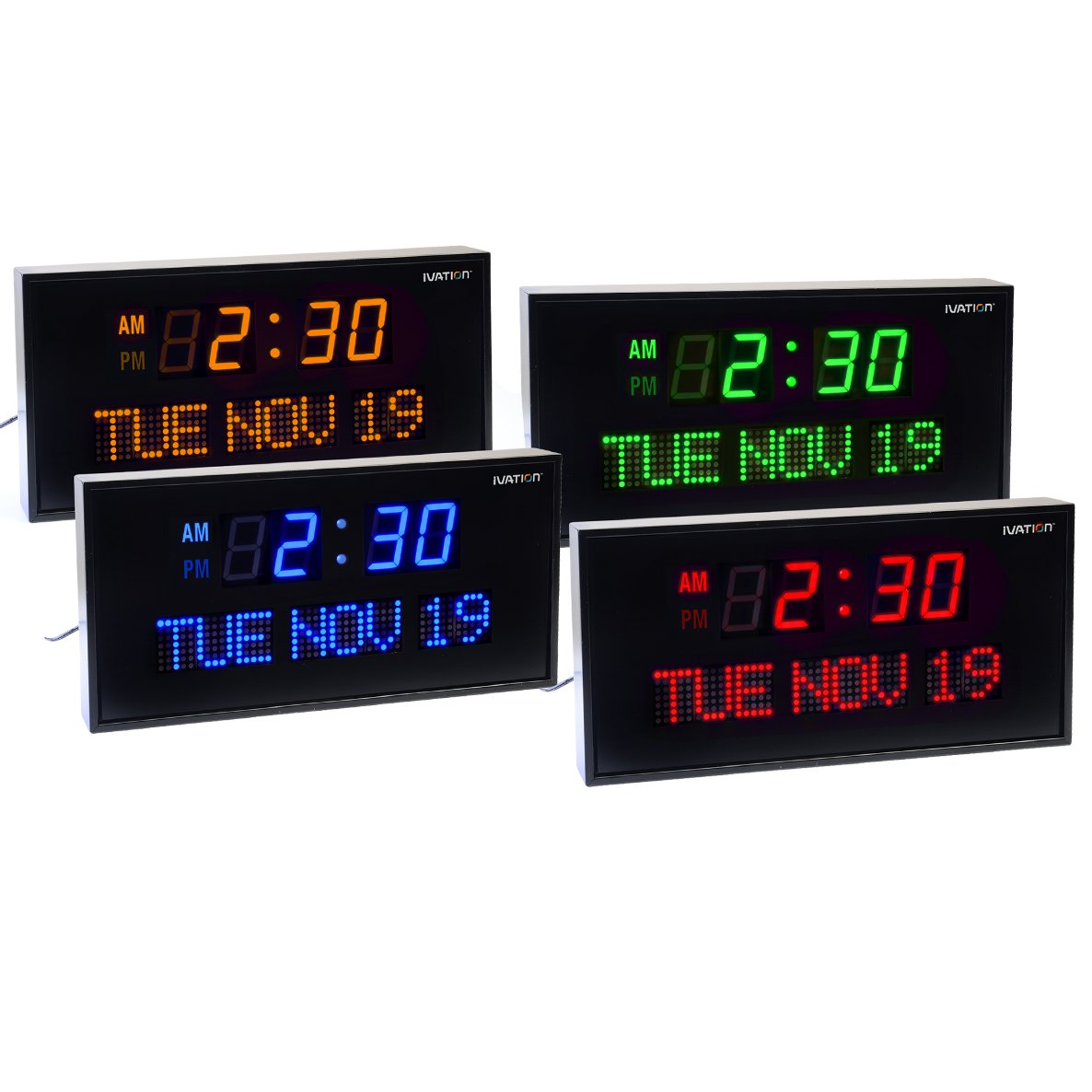 Amazon ivation big oversized digital blue led calendar clock amazon ivation big oversized digital blue led calendar clock with day and date shelf or wall mount 12 inches blue led home kitchen amipublicfo Image collections