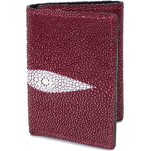 Genuine Handmade Trifold Skin Leather Card Wallet 9 Stingray Burgundy fqHrf7