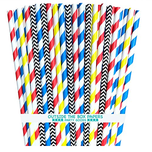 Outside the Box Papers Superhero Theme Chevron and Striped Paper Straws 7.75 Inches 100 Pack Red, Blue, Black, Yellow, -