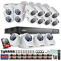 ANNKE 16CH Full 1080P HD-TVI Security Camera System H.264+ Digital Video Recorder with 2TB Hard Drive and (16) 1920TVL 2.0MP Outdoor Fixed CCTV Cameras