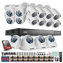 ANNKE 16CH 1080P HD-TVI Surveillance DVR Recorder with 2TB Hard Drive and (16) 2.0Mega-Pixels 1920TVL Weatherproof Cameras(8 Bullets+8 Domes)
