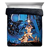 Star Wars Classic Poster Full/Queen Comforter - Super Soft Kids Reversible Bedding features - Fade Resistant Polyester Microfiber Fill (Official Product)