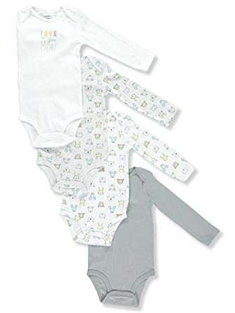 c5d44a776 Carter's Baby Boys' 4-Pack Long-Sleeve Original Bodysuits (Ivory/Grey