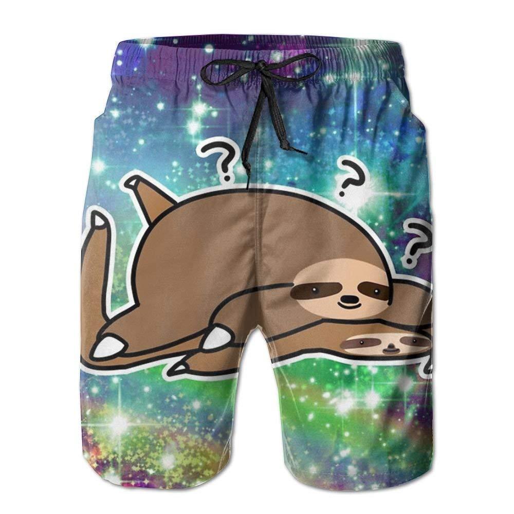 MIGAGA Sloth Buddy Mens Beachwear Gym Boardshorts Quick Dry Swimming Trunks