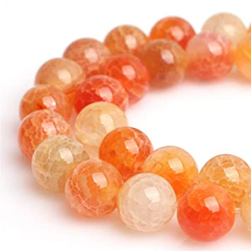 100 x 8mm Yellow Crackle Glass Round Beads 1 Strand
