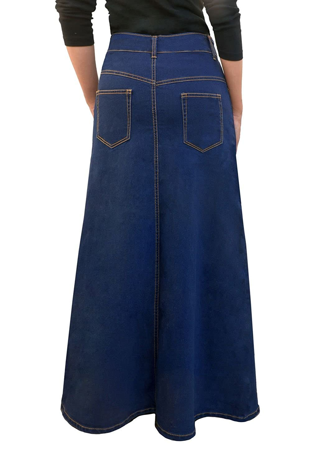 4f6f6cd9bc Kosher Casual Women's Modest Long A-Line Maxi Denim Skirt - No Slits at  Amazon Women's Clothing store: