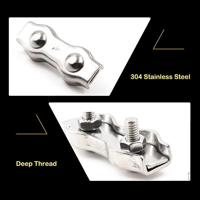 10pcs M5 C/âble m/étallique Clip Duplex c/âble de serrage en acier inoxydable 304