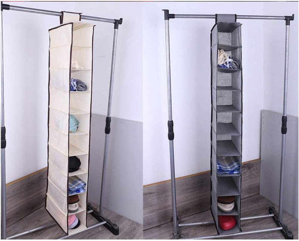 Accesorios TOPBATHY Organizador del almacenaje del Armario de la Tela Que cuelga con los cajones 10 Estante para los Zapatos Gris Bolsos de Las Botas embragues