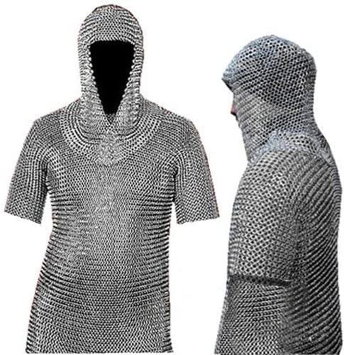 Full Size Medieval Chain Mail Shirt and Coif Armor Set Fit upto 3XL Long Shirt