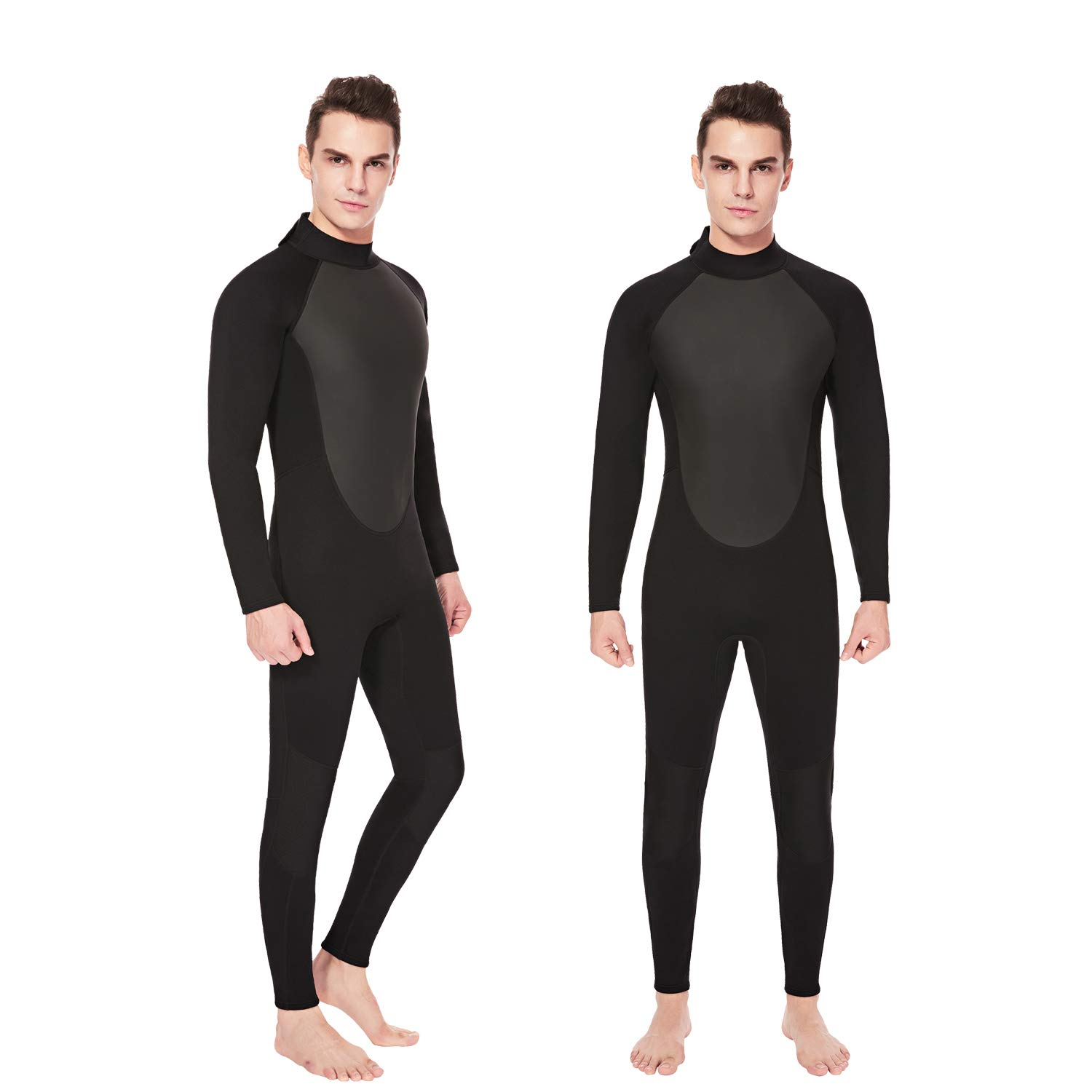 Flexel Wetsuit Men Full Diving Suits 3mm Premium Neoprene with CR Stretch Panels for Surfing Swimming Snorkeling Stand-Up Paddleboarding Fishing Scuba Boys (3mm Black, Large) by Flexel