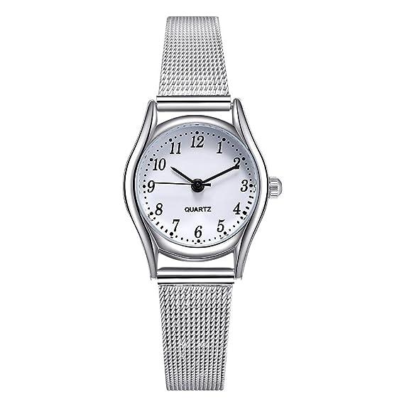 Relojes Mujer con Correa de Malla de Plata, Escala de Números Arábigos Relojes de Pulsera