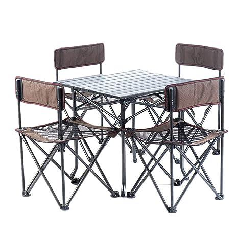 Tavolo Da Campeggio Con Sedie.Set Tavolino Con 4 Sgabelli Incorporati Foro Per Ombrellone