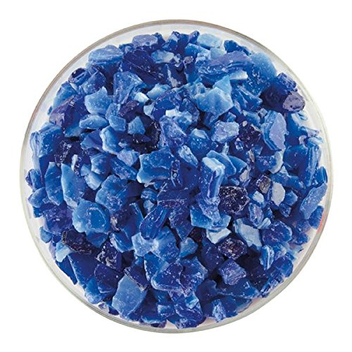 Caribbean Blue Transparent & White Opalescent 2-Color Mix Extra Large Frit - 4oz - 90COE - Made From Bullseye ()