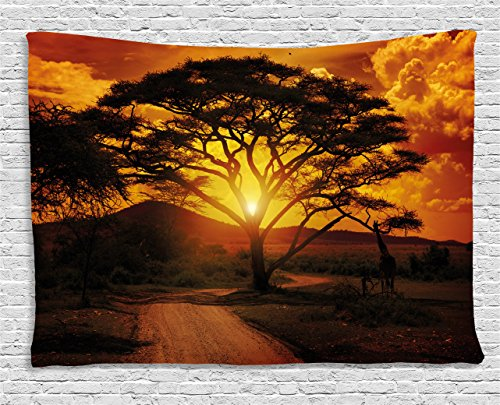 African Wall Tapestry - Ambesonne Sunset Tapestry by, Majestic African Tree with Horizon Background Mystic Nature Dramatic Landscape, Wall Hanging for Bedroom Living Room Dorm, 80WX60L Inches, Orange Black