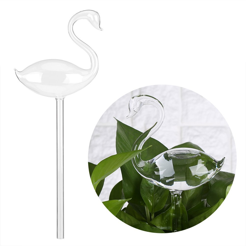 Acogedor Plant Watering,Water Feeder Swan Shape Hand Blown Clear Glass Self Plant Waterer,Automatic Watering System for Watering Indoor Plants, Houseplants, Potted Plants, Patio Plants