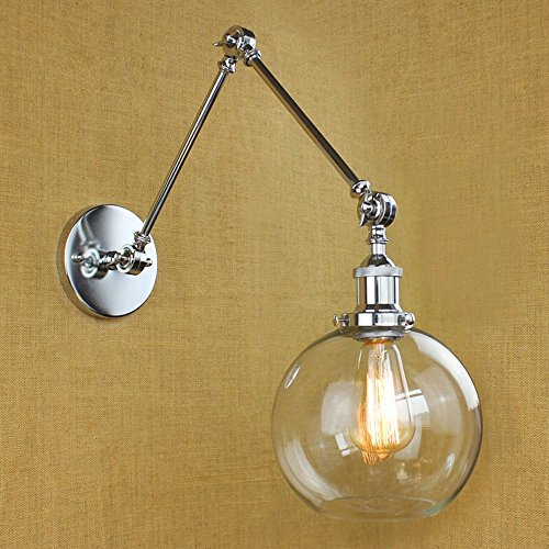 NIUYAO Vintage Industrial 1-light Wall Lighting with Round Clear Glass Shade Adjustable Swing Arm Retro Style Antique Bedside Wall Lamp Decor Lighting Fixture Wall Sconces,Brushed Chrome (Brushed Chrome Swing Arm)