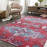 Mohawk Home Prismatic Eidenau Seafoam Aztec Precision Printed Area Rug, 8'x10′, Pink and Teal