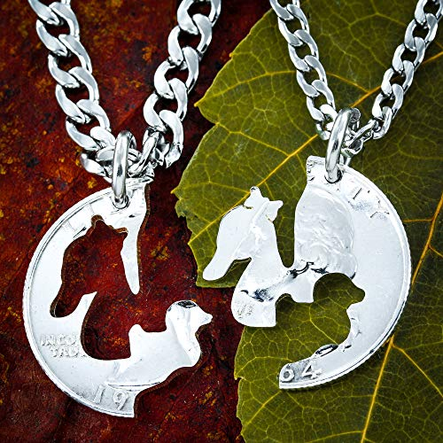 - Mother Duck Duckling Jewelry, Mom Son or Daughter Split Coin necklaces, Mommy gift