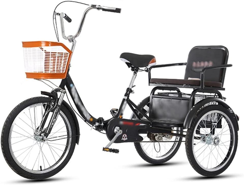 LICHUXIN 20 Pulgadas Triciclo 3 Ruedas con Asiento Respaldo y Cesta Grande Bicicleta De Triciclo Plegable para Adultos Personas Mayores Compras Cruise (Color : Black)