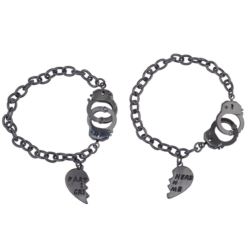 Lux Accessories Partners in Crime Handcuff Hand Cuff BFF Best Friends Forever Matching Bracelet Set B215669-1-B603