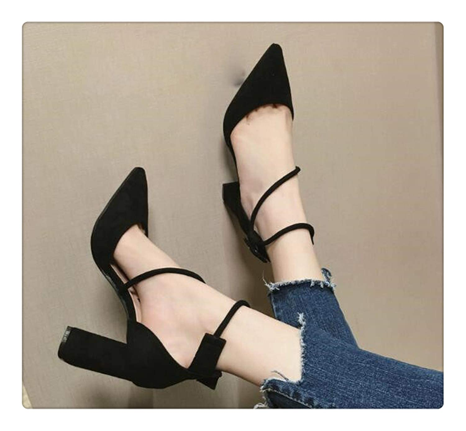 As picture BIONGTY& T-Tied squareHigh Heels Sandals Women Buckle Decor Sexy Pointed Toe red shoes