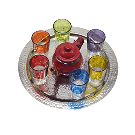 Juego de té modelo moruno de Marruecos, 6 vasos de colores más tetera esmaltada pequeña